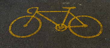Bicycle sign path on the road Royalty Free Stock Photography