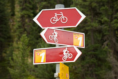 Bicycle sign post Royalty Free Stock Photography