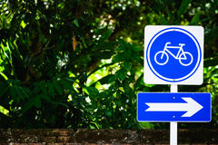 Bicycle sign post stock images