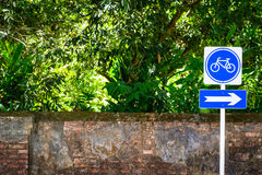 Bicycle sign post royalty free stock images