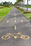 Bicycle sign in public park area. Royalty Free Stock Image
