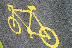 Bicycle sign on the road Royalty Free Stock Photography