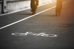 Bicycle sign on the road Stock Image