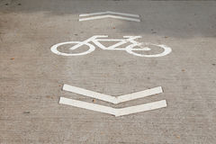Bicycle Sign on the road. Bike lanes Royalty Free Stock Photos