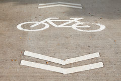 Bicycle Sign on the road. Bike lanes Royalty Free Stock Image