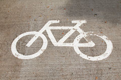 Bicycle Sign on the road Royalty Free Stock Images