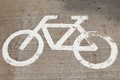 Bicycle Sign on the road. Bike lanes Stock Image