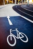 Bicycle sign on the road  in public road Stock Photos