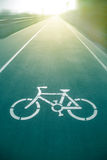 Bicycle sign on the road  in public park Royalty Free Stock Images