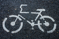 Bicycle sign on the road royalty free stock image