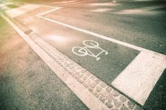 Bicycle sign on street. In Europe Royalty Free Stock Photography