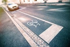 Bicycle sign on street. In city Stock Image