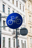 Bicycle sign on street Stock Images