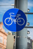 Bicycle sign on street Royalty Free Stock Images