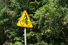 Bicycle sign. Triangle shaped sign with bicycle symbol Stock Images