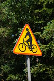 Bicycle sign. Triangle shaped sign with bicycle symbol Stock Image