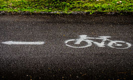 Bicycle sign. White color bicycle symbol heading to the left hand side on asphalt road with grass buffer in public park royalty free stock photography