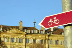 Bicycle signpost in the city Royalty Free Stock Photos