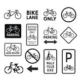 Bicycle signs black and white set vector Royalty Free Stock Photography
