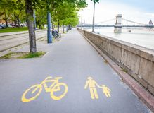 Bicycle signs painted on asphalt Royalty Free Stock Image