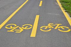 Bicycle signs on the road Stock Images