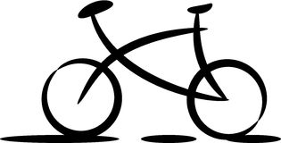 Bicycle silhouette. Black silhouette of bicycle on white background stock illustration