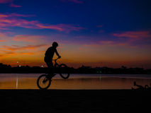 Bicycle Silhouette. Beautiful sky with bicycle silhouette stock photography