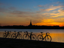 Bicycle Silhouette. Beautiful sky with bicycle silhouette royalty free stock images