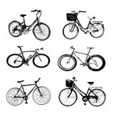 Bicycle silhouette collection  on white Stock Photography