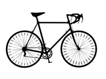 Bicycle Silhouette Drop Handlebar Mountain Bike. Silhouette of a drop handlebar mountain bike, black isolated on white Royalty Free Stock Photography