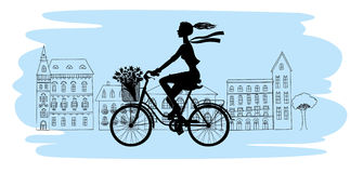 Bicycle silhouette. Girl rides a Bicycle Stock Images