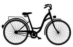 Bicycle silhouette isolated on white background Royalty Free Stock Photography