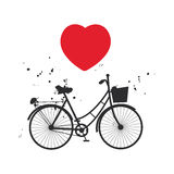 Bicycle silhouette and red heart on white background. Vector Stock Photos