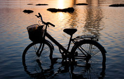 Bicycle silhouette standing in the water. Bicycle silhouette standing in the water at sunset Royalty Free Stock Photos