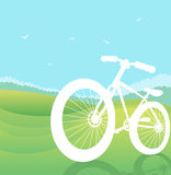 Bicycle silhouette on summer nature landscape.Vect Stock Images