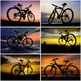 Bicycle silhouette with sunset sky collage. Bicycle silhouette with sunset sky background collage royalty free stock photo