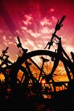Bicycle silhouettes Royalty Free Stock Photos