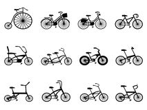 Bicycle silhouettes set Royalty Free Stock Photography
