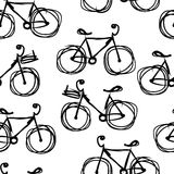 Bicycle sketch, seamless pattern for your design Stock Photo