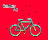 Bicycle with small heart, Romantic Valentine`s Day Card.  Royalty Free Stock Photos
