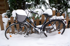 Bicycle in the snow Stock Photos