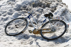 Bicycle in the snow Stock Image