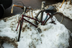Bicycle Snowbank Stock Images