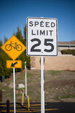 Bicycle and Speed Limit Sign Royalty Free Stock Image