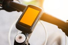 Bicycle speedometer computer setting on bicycle stock photography