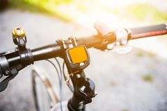 Bicycle speedometer computer setting on bicycle royalty free stock photos