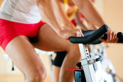 Bicycle Spinning in gym Stock Photography