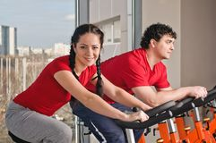 Bicycle spinning in the gym Royalty Free Stock Photography