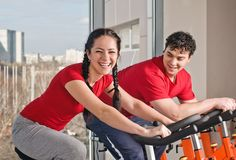 Bicycle spinning in the gym Stock Photography