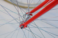 Bicycle spoke detail closeup. Detail view with hub and spokes of Stock Images